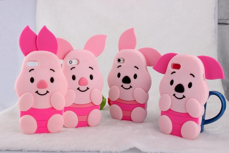 fundas1PCS-lot-Cute-Cartoon-Silicon-silicone-Piglet-case-For-iphone-5-5S-iphone5-3D-kawaii-Pink