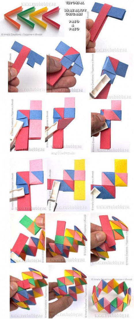 tutorial brazalete origami