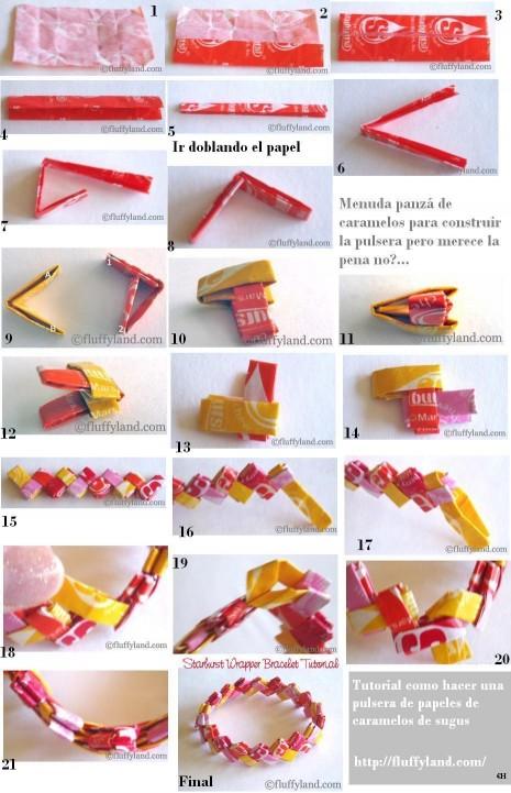 tutorial como hacer pulseras papeles sugus