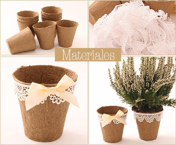 souvenirs para boda planta con maceta decorada