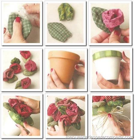 como hacer rosas de tela flores de tela