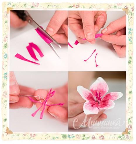 como hacer flores casi naturales, con estambles de hilos7