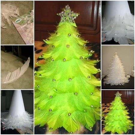 Arbol de Navidad con Plumas, Manualidades Faciles Paso a Paso