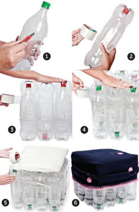 Asientos reciclados a partir de botellas de plástico paso a paso