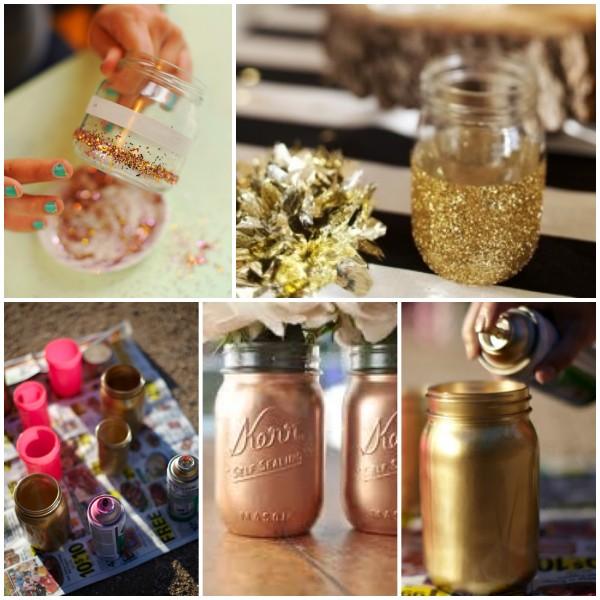 Centros de mesa artesanales con frascos botellas troncos - Botellas con velas ...