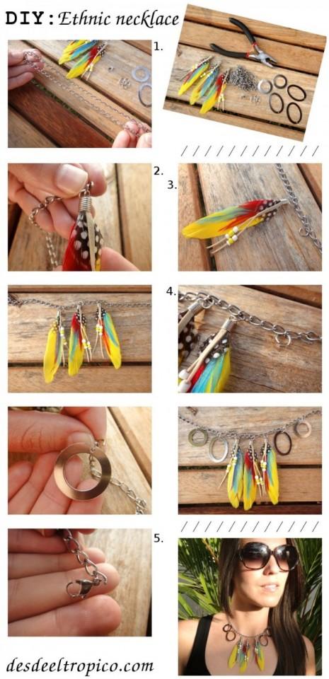 DIY-moda-collar-étnico-con-plumas
