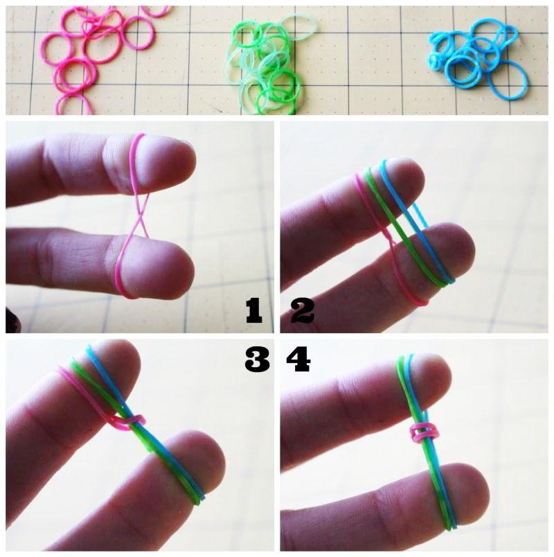 Pulseras de ligas con 3 dedos