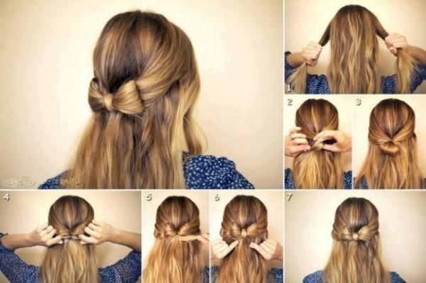 diy-wedding-hairstyle-tutorial-for-long-hair-simple-wedding-bow-hairstyle-fiyonk-seklinde-kolay-sac-modeli-nasil-yapilir