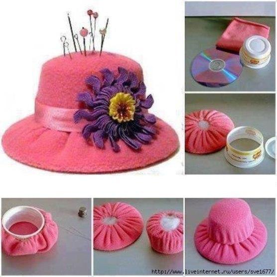 Como-hacer-un-sombrero-con-Cds-reciclados