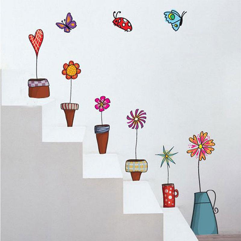 escaColorida-maceta-flores-creativo-autoadhesivo-etiqueta-de-la-pared-dormitorio-Den-salón-escaleras-decorativas-fondo-de