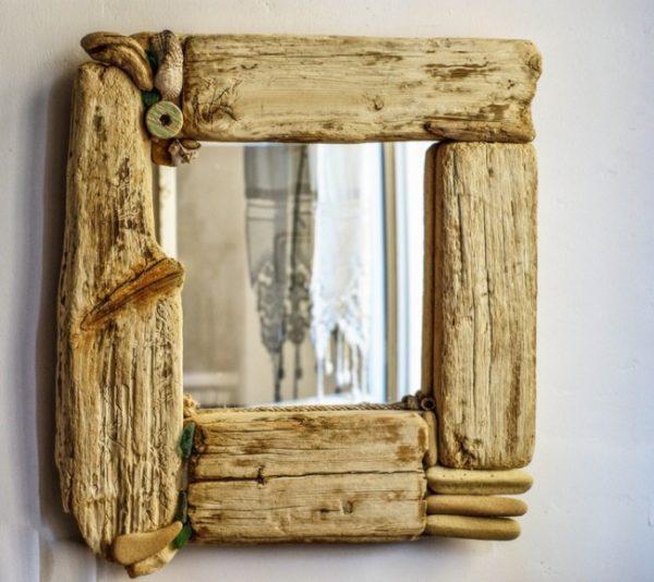 Manualidades para reciclar el marco de un espejo renovar for Espejos de pared madera