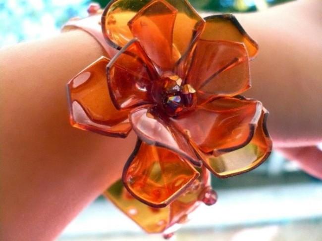 pulsera-de-pet-con-flor-naranja