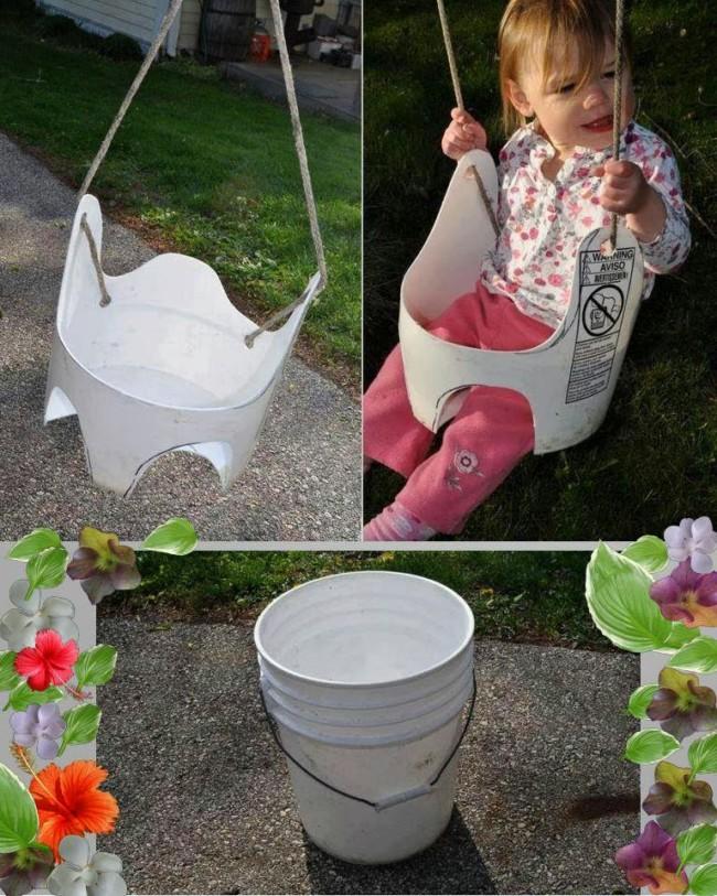 columpio con envase cubeta plastico reuso juegos infantiles reutilizando materiales