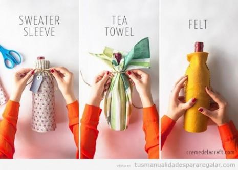 manualidades-regalar-regalos-hechos-a-mano-botella-envuelta-en-fieltro-lana