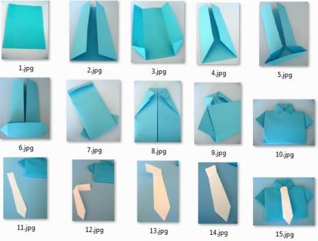 Origami paso a paso Camisa con corbata