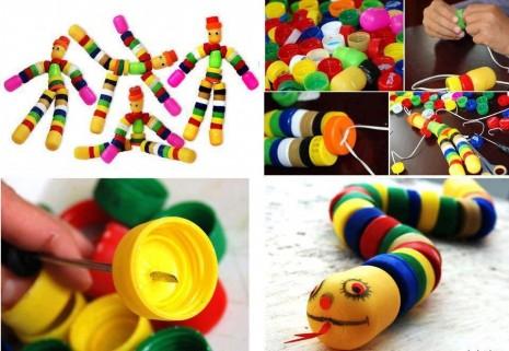 Juguetes reciclados con tapitas de plastico