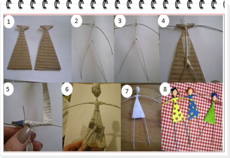 como hacer muñecas con alambre y papel mache para decoracion 2