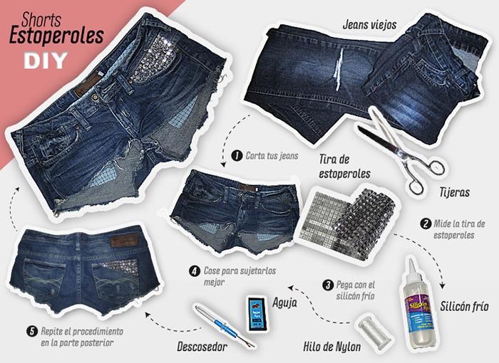 Cu00f3mo reciclar short de jean Manualidades y tu00e9cnicas ...