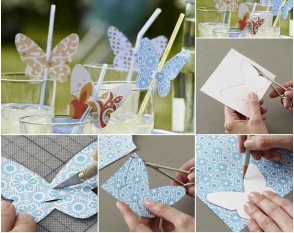 table-decoration-ideas-summer-party-butterflies-paper-diy-drinking-straw
