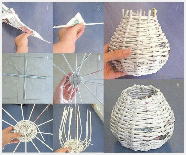 Manualidades para hacer con papel ideas con papel reciclado papel mach papel madera papel - Decorar cestas de mimbre paso a paso ...