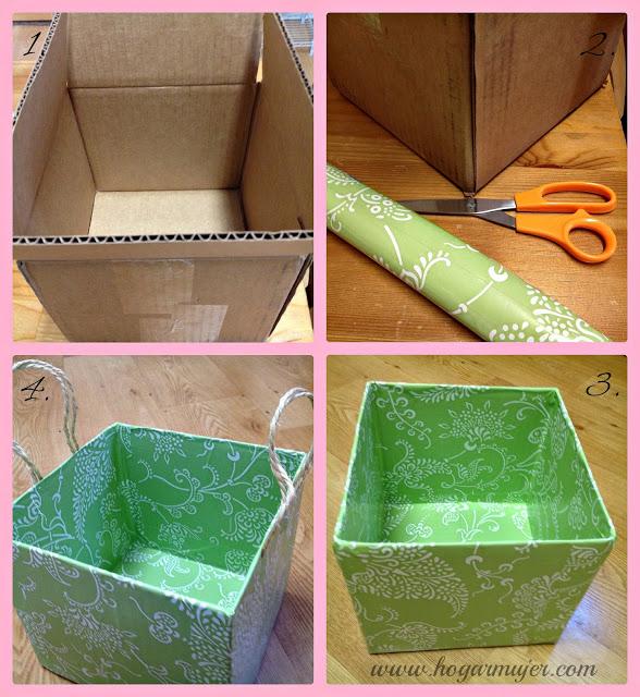 Caja reciclada1 manualidades y reciclados - Como forrar un armario con tela ...