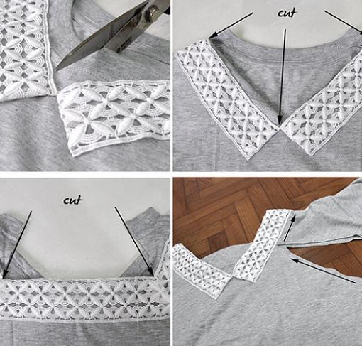 customizar-camiseta-con-encaje-en-el-cuello-cortar