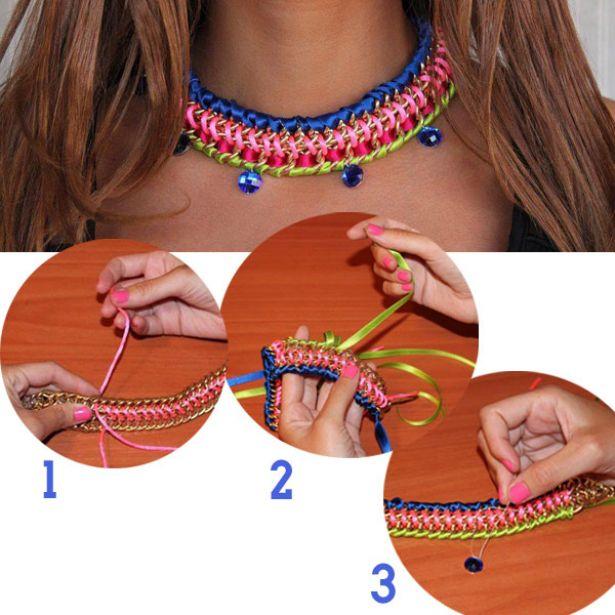 4275c47986fe Collares artesanales con cadenas y trenzados  Ideas novedosas y ...