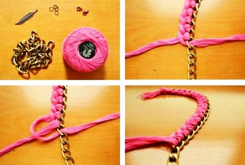 90265cb59843 Collares artesanales con cadenas y trenzados  Ideas novedosas y originales