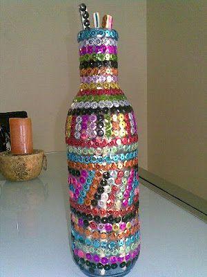 Ideas bonitas hechas con botellas de vidrio y frascos reciclados manualidades y reciclados - Botellas decoradas manualidades ...