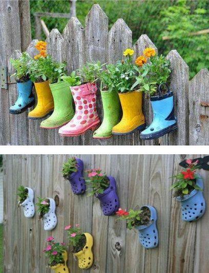 Ideas bonitas recicladas para decorar todo tipo de for Adornos jardin reciclados