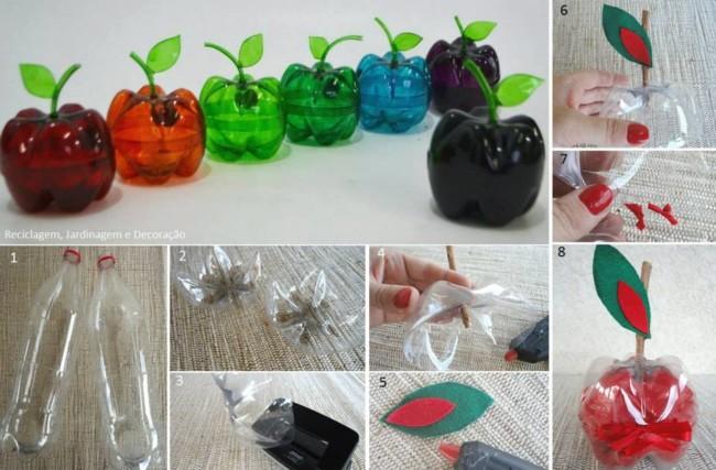 como hacer manzanas de plastico reciclando botellas