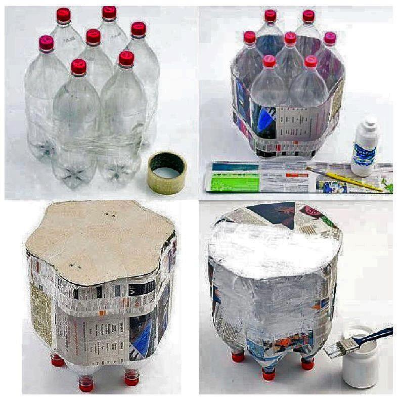como hacer taburetes, bancos o muebles a partir de botellas de pet o envases vacios de plastico paso a paso