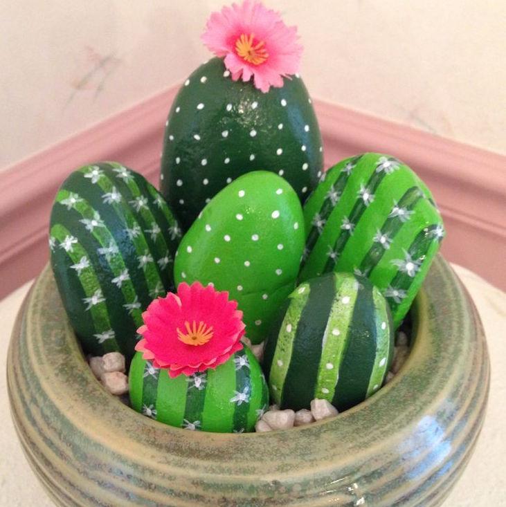30 minicactus souvenirs artesanales muy originales for Piedras pintadas a mano paso a paso