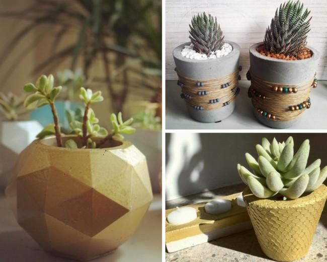 Manualidades con cemento para jardin macetas manualidades y reciclados - Macetas de cemento ...